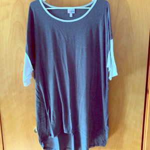 LuLaRoe Irma size 2XL Grey w/white sleeves